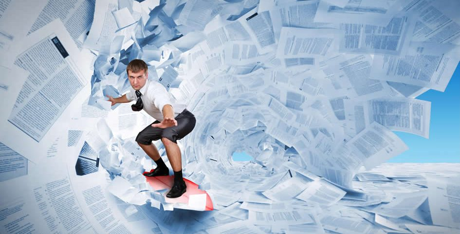 surfing paper documents ready to shred